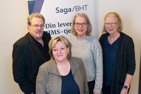 BLIR STØRRE: Staben på Saga BHT får flere nye kollegaer i Drammen og Kongsberg. Harry L. Strand (fra venstre), Marit Hollerud, Grethe Robøle og Elsa Lill Piltingsrud Strande.