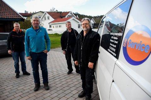 REPARATØRENE: Freddy Kristiansen, Morten Langslet, Trygve Bratteteig og Arild Sulland reparerer hvitevarer.