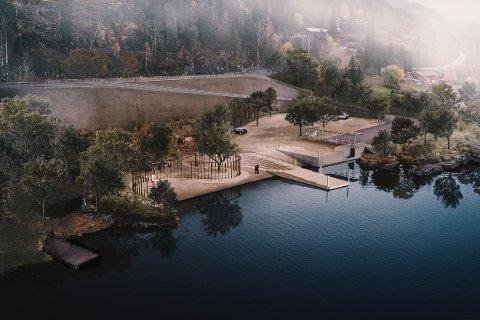 20200402.  Illustrasjon av det planlagte minnested for 22. juli. Minnestedet skal bygges på Utøykaia. Foto: Manthay Kula / Statsbygg / NTB scanpix