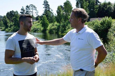 Yusuf Demir (27) fra Hønefoss og Erlend Søraker (46) fra Hole reddet 10-åringen på land ved Tippen.