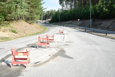 ØYA FORSVANT: Trafikkøya er borte, slik at sykkelstjernene ikke skal få problemer i innspurten under NM i helga.