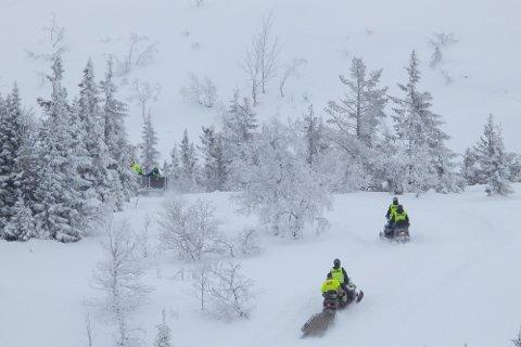 FUNNET: Lørdag formiddag ble det gjort funn av en omkommet person ved Gråfjell. Politiet antar at dette er det er den savnede skiløperen som det har vært lett etter i området rundt Tempelseter.