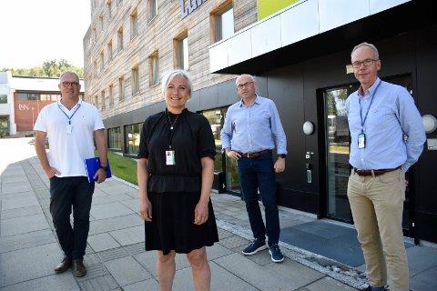 SPENNENDE PROSJEKT: Bjørn Ove Grønseth, Harriet Slaaen, Terje Dahlen og Steinar Aasnæss tror samarbeidet mellom USN og lokalsamfunnet kan gi svært god effekt.