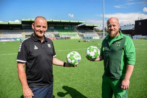 TOK UTFORDRINGEN: Knut Emil Kolstø og Odd Arild Ottersen står i spissen for knøttefestivalen i Hønefoss i helgen. De har fått en krevende jobb å gjøre.