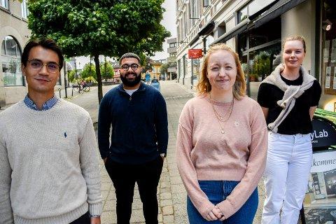 FIKK SJANSEN: Her er fire av de fem traineene som har fått sjansen i lokale virksomheter: Magnus-Andre Cortiz Halvorsen, Hiwa Azari, Hanne Bråtøymyr og Kaja Thomassen.