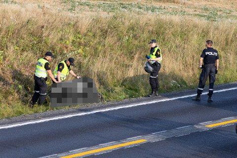 Motorsykkelen havnet i grøfta og fikk en del materielle skader.