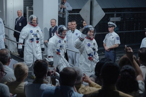 """(L to R, Foreground): COREY STOLL as Buzz Aldrin, LUKAS HAAS as Mike Collins and RYAN GOSLING as Neil Armstrong in """"FIRST MAN."""" On the heels of their six-time Academy AwardÆ-winning smash, """"La La Land,"""" OscarÆ-winning director Damien Chazelle and star RYAN GOSLING reteam for Universal Pictures' """"First Man,"""" the riveting story of NASA's mission to land a man on the moon, focusing on Neil Armstrong and the years 1961-1969."""