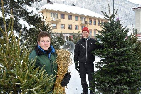 TORGSKOGEN:  De har delt torget mellom seg - Vivi Anne B. Mæland og Knut Rune Hagen. Nå selger de alle varianter av juletrær.