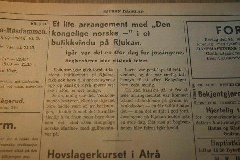 Faksimile Rjukan Dagblad 1942