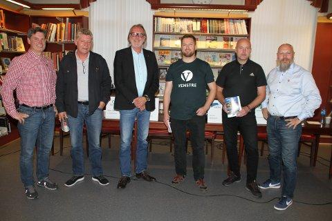 LISTETOPPENE I TINN I DEN FØRSTE AV TO DEBATTER: Jørn Langeland (SV) og Trond Jore (Ap) flankerer rrdfører Bjørn Sverre Sæberg Birkeland (SP),  Mariius Netten Skeie (V), Steinar Bergsland (H) g Gjermund Ingolsland (FrP).