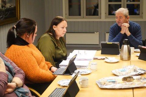 UTVALG: Helsepolitikere i Tinn vil lyse ut de to legestillingene i Austbygde på nytt. Det ble bestemt under møtet over nett denne uka. Her fra møtet i Helse- og omsorgsutvalget rett før koronanedstengningen i mars 2020. Da ble også legestillingene i Austbygde diskutert. (f.h.) Leder Vidar Stang (Ap), kommunalsjef Gry Anja Gundersborg og Ingvild Jeanette Eggerud (Sp) til venstre.