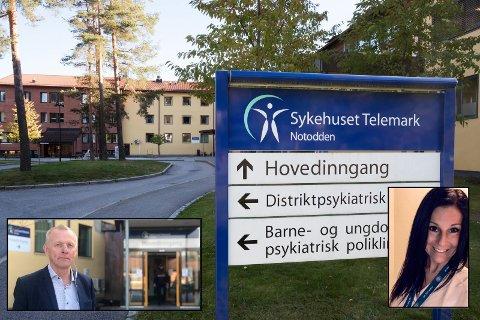 FLYTTET: Et 30-talls ansatte ved Notodden sykehus er flyttet midlertidig til sykehuset i Skien, og beskriver i et debattinnlegg situasjonen. Sykehusdirektør Tom Helge Rønning og sykepleiertillitsvalgte Elisabeth Oskasin på Notodden (begge innfelt) kommenterer begge situasjonen.