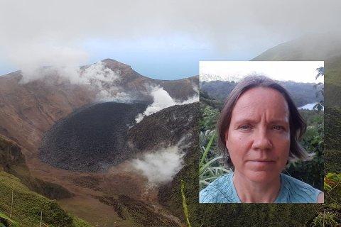 REDD: Stina Herberg (innfelt) fra Rjukan har bygget opp skolen sin på St. Vincent og Grenadinene de siste 15 årene. Nå frykter hun og den fattige øynasjonen at alt skal være for ingenting dersom vulkanutbruddet blir verre enn det har vært. Samtidig setter hun stor pris på kronerullingen fra Tinn.