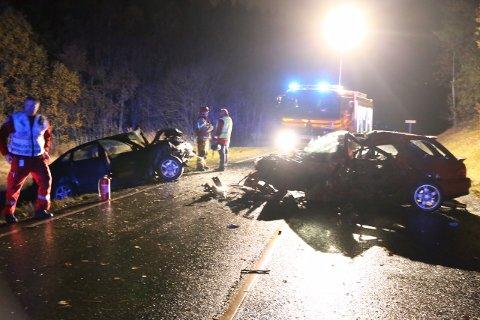 ULYKKE: to menn omkom i trafikkulykken i Østfold i går kveld. (Foto: Freddie larsen)