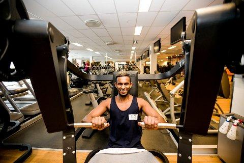 GØY: Mayoo Indrian er glad i trening, og trener så godt som hver dag.