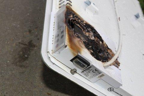 FØRTE TIL BRANN: Denne panelovnen fra Biltema startet en brann i en bolig på Rælingen tidligere denne uken.