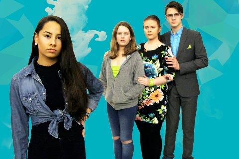 Når foreldrene bryr seg i alt er det enkleste å gjøre opprør. Robyn (Mila Stene Stidahl) er lei familiens innblanding. (Bak f.v. Hedvig Grimstad Sunde, Victoria Fagersand og Erling Kristiansen)