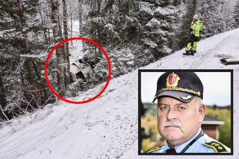 FLAKS: Lensmann Svein Engen i Aurskog-Høland mener smugleren som kjørte av veien hadde flaks.