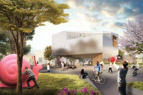 Sentralt: Det nye Akershus kunstsenter skal etter planene bygges i Kirkegata 10, vis-à-vis Lillestrøm stasjon. Bygningen er tegnet av Haugen/Zohar arkitekter etter en arkitektkonkurranse i 2014. Bygningen har fått navnet «Åpent hus»