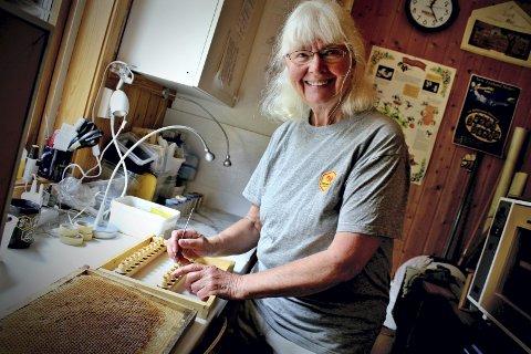 HOLDER HUMØRET OPPE: Birøkter Ingegärd Øien er ikke helt fornøyd med honningåret på Røisilien bigård, en av Norges største produsenter av økologisk honning. Men 77-åringen slutter ikke å være positiv av den grunn.FOTO: SEBASTIAN SKYTTERUD MYERS