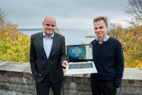 SOL PÅ VANN: Gründerne Børge Bjørneklett og Øyvind Christian Rohn og deres Ocean Sun har utviklet en løsning for solenergiproduksjon på vann. (Foto: Vidar Sandnes)