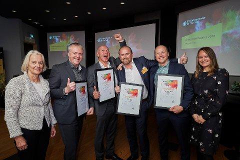 FINALISTER: Dag-Adler Blakseth (nr. to fra v.) er en av kandidatene til å bli Norges fremste vekstskaper. Her sammen f.v.  juryleder Åse Auli Michelet, Helge Jordanger, Henrik Badin, Truls Kristian Brataas  og  Anja Maan (EY).