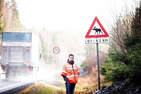 FARE FOR ELG: Dette skiltet er satt opp langs rv. 170 i Sørum, for å varsle trafikanter om at det ofte ferdes elg over eller langs med veien. Senioringeniør Vegard Moe i Statens vegvesen forklarer at dette er ett av mange tiltak veivesenet gjør for å redusere antall viltulykker.