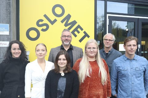 Trine Aa. Tolfsby (f.v.), Julianne Lerdalen, Bjørn Skovli, Lotte Bryne, Ida Marie Joakimsen Bakken, Stian Luneborg og Kyrre Andersen gleder seg over samarbeidet som nå foregår mellom The Good Store og designlinja ved Oslo Met.