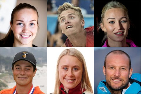 NOMINERTE: Dette er halvparten av idrettsutøverne som kan bli kåret til Årets idrettsutøver på Romerike. (F.v øverst) Guro Reiten, fotball, Christian Sandlie Sørum, sandvolleball, Stine Bredal Oftedal, håndball, Viktor Hovland, golf, Ragnhild Haga, langrenn og Aksel Lund Svindal, alpint.