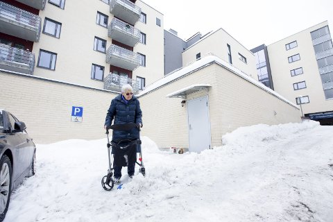 De eldre sliter fortsatt: – Det er glatt, mye snø og det blir gjort veldig lite. Jeg har måtte stenge meg inne noen dager, forteller Berit Ringerike (84) da RB møter henne utenfor hjemmet sitt på Lørenskog.alle foto: Lisbeth lund andresen