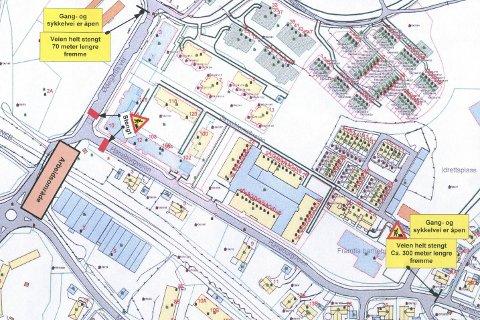 HER STENGES VEIEN: Tegningen viser arbeidsområde og veier som stenges i forbindelse med gravearbeidet.