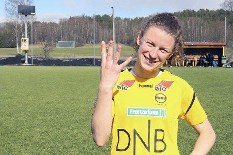 HENGER SEG PÅ: Det er ikke bare Guro Reiten og Sophie Haug som kan å score mål. Nå står Synne Skinnes Hansen med fire mål på fem kamper. Foto: Veronika Sletta