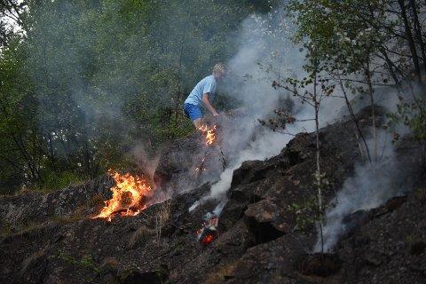 KJEMPER MOT FLAMMENE: Brannvesenet og beboerne langs jernbanen gjennom Nittedal er søndag kveld i full sving med å slukke den store skogbrannen som strekker seg fra Hakadal til Maridalen i Oslo.