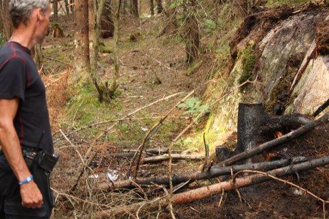 INSPISERER: Innsatsleder Gøran Syversen er glad for at skogbrannen ble slukket på et tidlig stadie.
