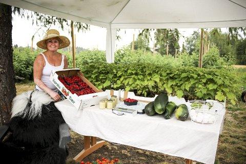 Bringebærbonde: Pia Mette Finskud selger usprøyta bringebær som er høstet rett utenfor kjøkkenvinduet på småbruket. ALLE FOTO: ELISABETH JOHNSEN