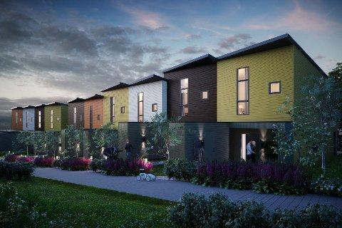 REKKEHUS: Et eksempel på hvordan rekkehus kan bli oppført på en del av planområdet. (Illustrasjon: Block Watne)