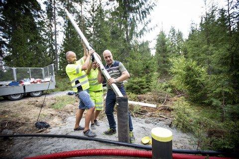 VINTERSIKRES: Grunnvannsbrønnene på Nordmoen, som ble boret i sommer, blir nå permanent reservevannsanlegg med muligheter for vinterdrift. Det har flertallet i Nannestad kommunestyre bestemt.