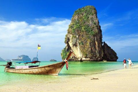 MER SOMMER: Nordmenn reiser ofte til Thailand. Dette er Railay beach. Krabi, Thailand. FOTO: TICKET