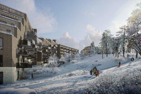 RETT VED SKIHALEN: Snølia med til sammen 375 leiligheter vegg-i-vegg med skihallen Snø er ett av prosjektene til Selvaag Bolig i Lørenskog stasjonsby. Ill.: Selvaag Bolig/BetonmastHæhre Boligbygg