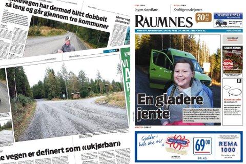 FRIKJENT: Det var i forbindelse med denne artikkelserien om skoleruta til Emilie at Raumnes ble stevnet for retten for ærekrenkelser. Nå er avisen frikjent.