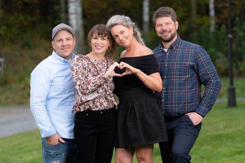 Kjærlighet for alle: Jakten på kjærligheten-profilene Vegar Valbø, Else Strøm Larsen og Sondre Stubrud flyttet inn på Eidsverket gods på Bjørkelangen i håp om å finne kjærligheten. Her med programleder Gunhild Dahlberg.