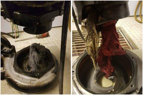 BLOKKERTE: Vaskefiller og ei t-skjorte er blant funnene avløpsetaten i Ullensaker kommune har funnet i pumpene sine. Nå kommer de med en advarsel inn mot jula.