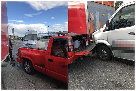 KOLLIDERTE: Det er på det rene at lokalpolitikeren krasjet sin minibuss i bilbergerens bil. Politikeren hevder det ikke var med vilje, mens politiet mener han forsøkte å treffe bilbergeren.