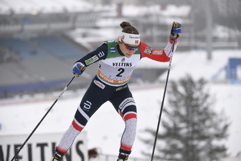TIL TOPPS: Maiken Caspersen Falla vant lørdagens sprint i Lahti. Foto: Markku Ulander/Lehtikuva / NTB scanpix