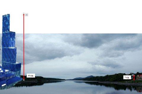 VED VORMA: River Hustad ser for seg Røkke-tårnet på stasjonssiden av Vorma. (Fotomontasje: River Hustad)