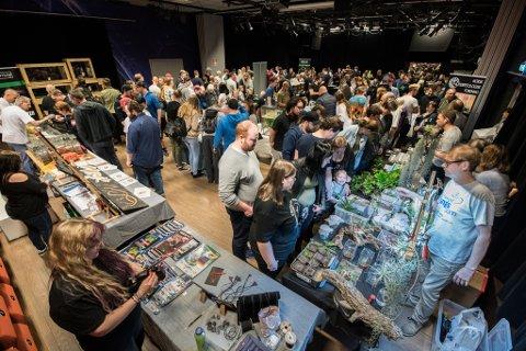 FOLKSOMT: Mange hadde tatt turen til Norges aller første reptilmesse.