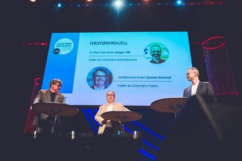Vik vant: Jørgen Vik (Ap) og Kjartan Berland (H) møttes til ordførerduell under Lillestrømkonferansen torsdag. Her med RB-redaktør Lars Martin Hansen.