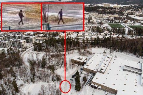 TO UKJENTE MENN: Her passerer to menn utenfor Tom Hagens arbeidsplass i Lørenskog - samme dag som Anne Elisabeth Hagen forsvant.