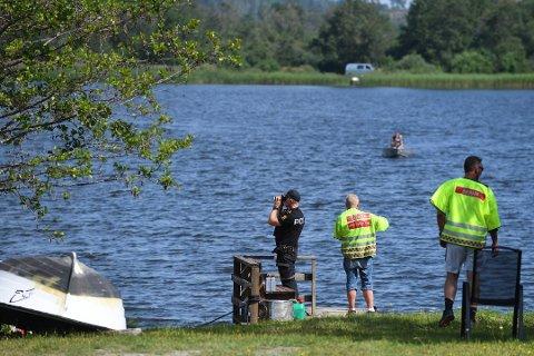 FUNNET: Drukningsofferet Martin Morgenlien Skamo (20) ble funnet med hjelp av sonar onsdag kveld. Her fra søket tidligere i uka.