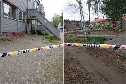 SPERRET AV: Deler av Algarheim skole ble sperret av etter funn av dynamittgubber i forbindelse med byggingen av den ny skolen.